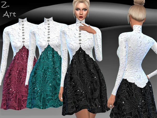 Sims 4 VintageZ. 03 cocktail dress by Zuckerschnute20 at TSR