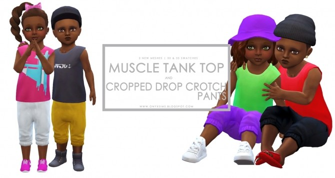 Toddler Muscle Shirt and Cropped Drop Crotch Pants at Onyx Sims image 1197 670x355 Sims 4 Updates