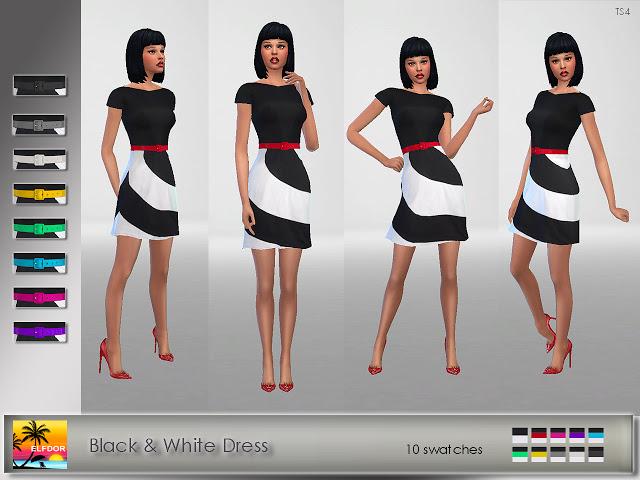 Black & White Dress at Elfdor Sims image 1233 Sims 4 Updates