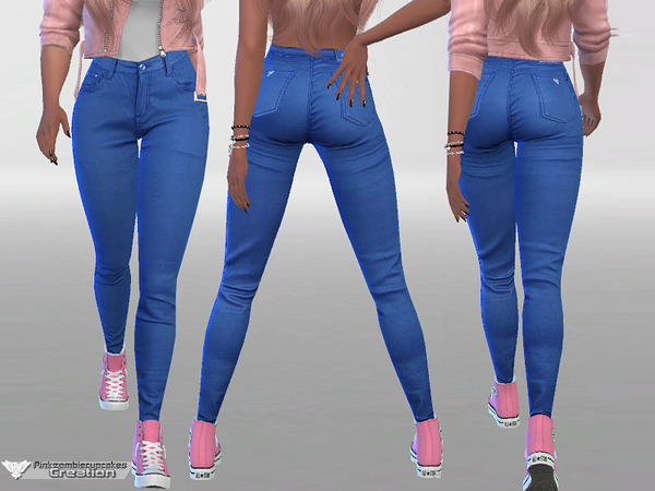 Sims 4 Chocolate Denim Jeans by Pinkzombiecupcakes at TSR