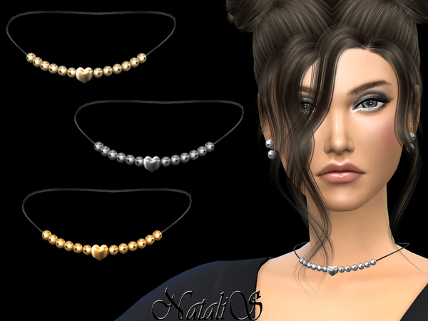 Sims 4 Heart beaded necklace by NataliS at TSR