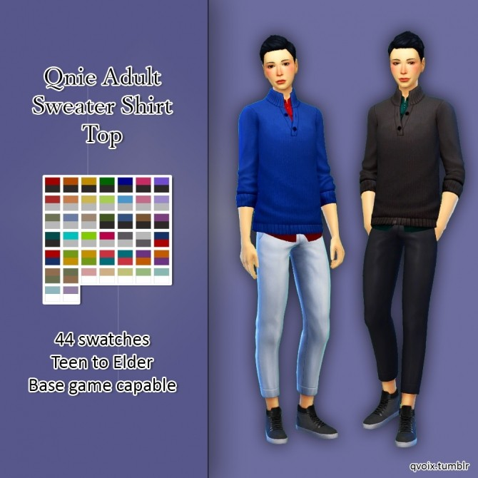 Qnie Sweater Shirt Top at qvoix – escaping reality image 13116 670x670 Sims 4 Updates