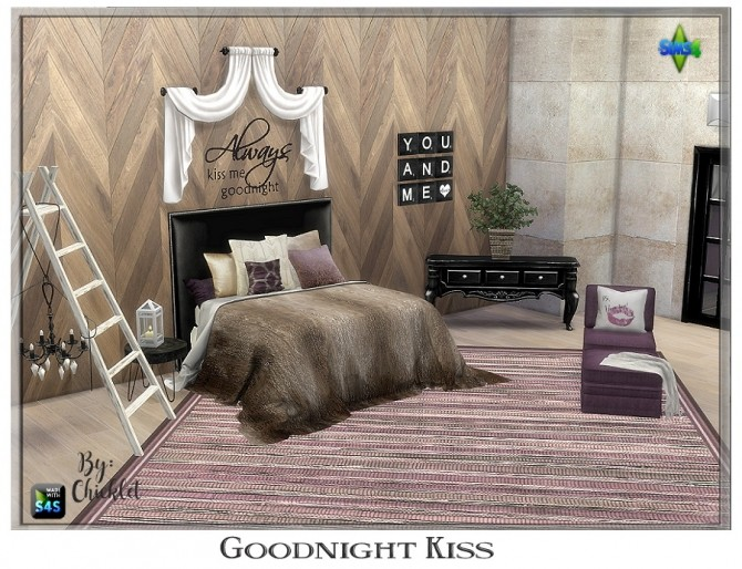 Sims 4 Goodnight Kiss Bedroom at Chicklet's Nest
