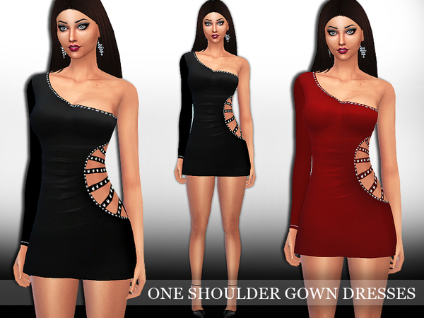 Sims 4 One Shoulder Gown Dress by Saliwa at TSR
