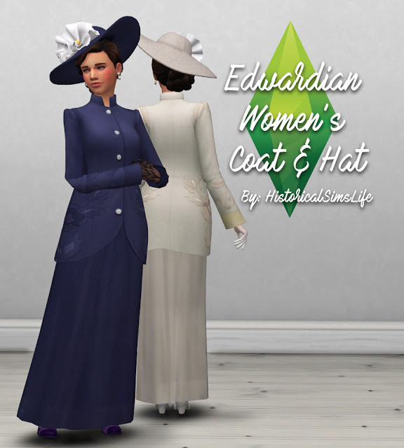 Edwardian Womens Coat and Hat at Historical Sims Life image 1429 Sims 4 Updates