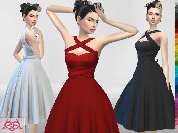 Sims 4 Rossana dress recolor 1 by Colores Urbanos at TSR