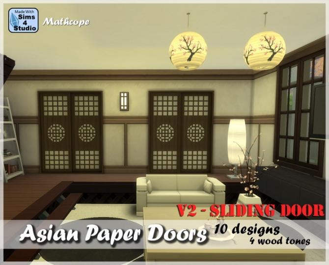Asian Paper Sliding Doors V2 By Mathcope At Sims 4 Studio
