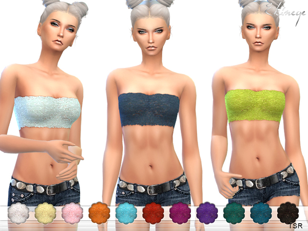 Sims 4 Lace Bandeau by ekinege at TSR