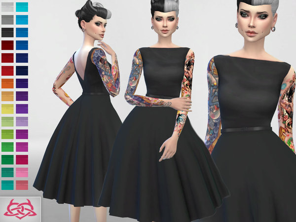 Sims 4 Vintage inspiration, dress, hair, shoes set 5 by Colores Urbanos at TSR