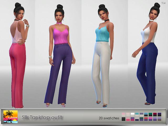 Sims 4 Silk Tank top outfit at Elfdor Sims