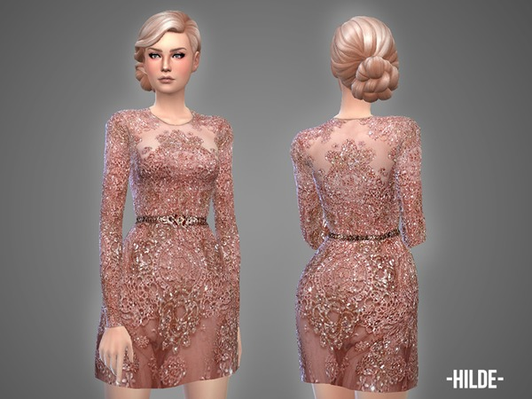 Sims 4 Hilde dress by April at TSR