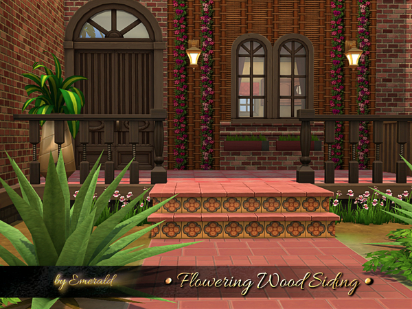 Sims 4 Flowering Wood Siding by emerald at TSR