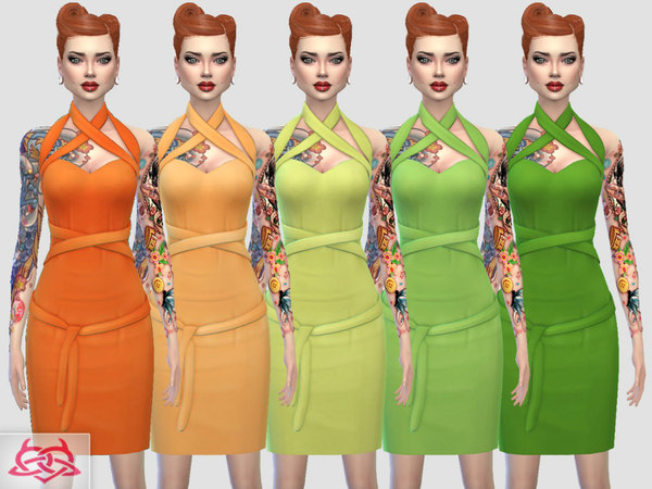 Sims 4 Mozzy dress recolors 1 by Colores Urbanos at TSR