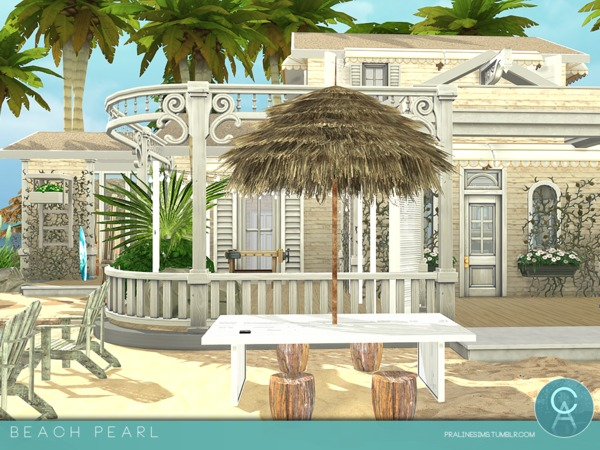 Sims 4 Beach Pearl home by Pralinesims at TSR