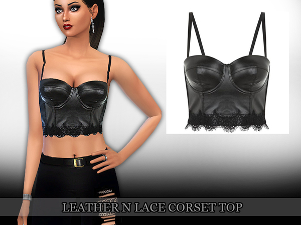 Leather N Lace Corset Top by Saliwa at TSR image 1826 Sims 4 Updates