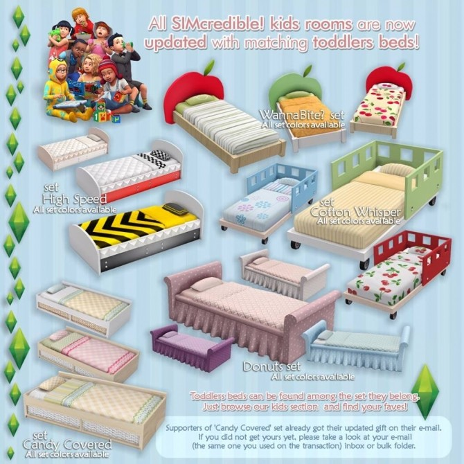 Sims 4 All kidsrooms and nurseries updated with matching toddler beds at SIMcredible! Designs 4