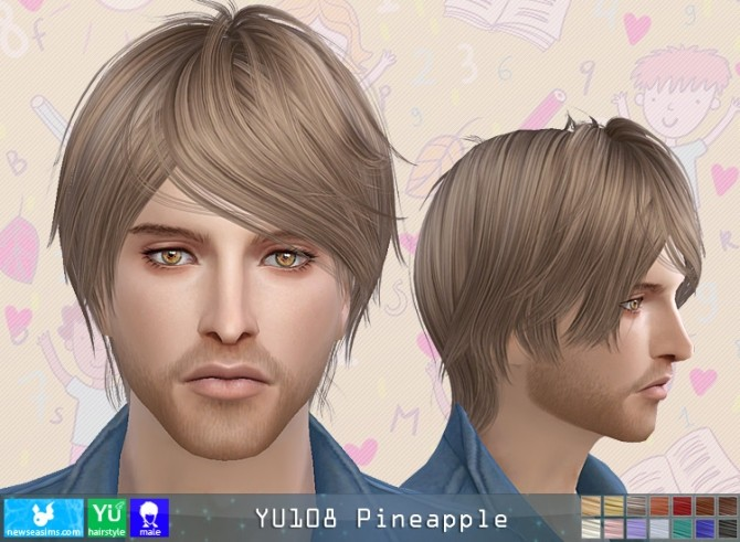 Sims 4 YU108 Pineapple hair M (Pay) at Newsea Sims 4