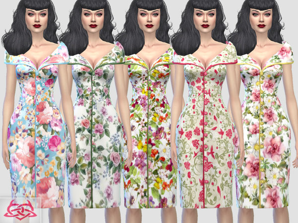 Sims 4 Paloma dress v. Tubo RECOLOR floral by Colores Urbanos at TSR