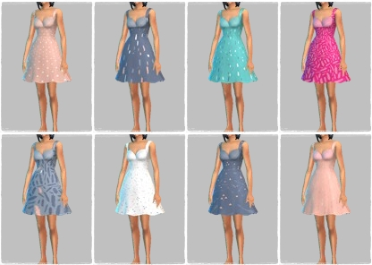 Sims 4 Oh Honey Dress recolors at ChiLLis Sims