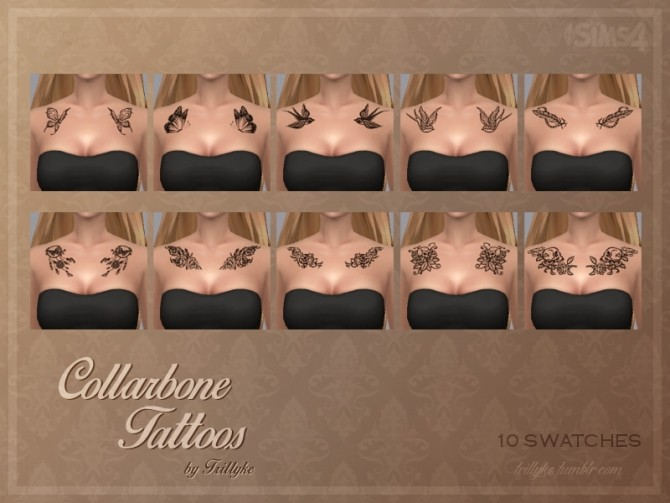 Collarbone Tattoos at Trillyke image 2106 670x503 Sims 4 Updates