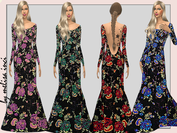 Sims 4 Floral Mermaid Evening Dress by melisa inci at TSR