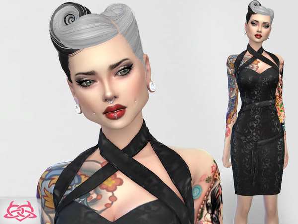 Sims 4 Set 3 dress, hair, shoes by Colores Urbanos at TSR