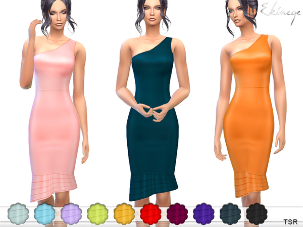 Sims 4 Asymmetric Ruffle Hem Dress by ekinege at TSR