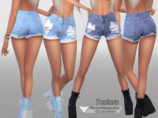 Sims 4 Denim Shorts No.010 by Pinkzombiecupcakes at TSR