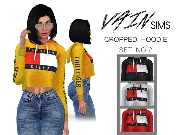 Cropped Hoodie Set No2 by VainSims at TSR image 2415 Sims 4 Updates