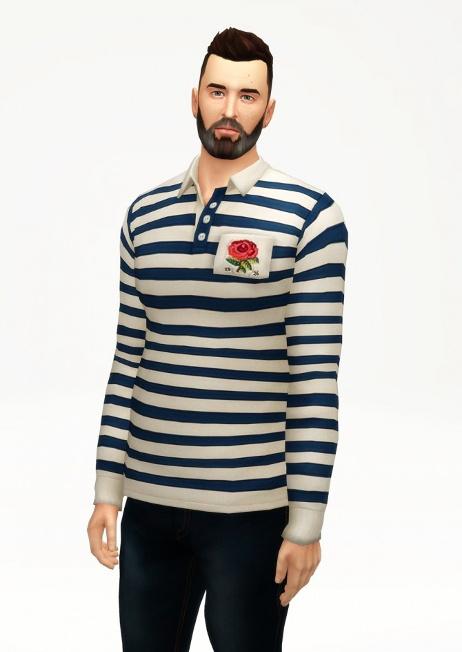 Striped appliqued cotton jersey polo shirt at Rusty Nail image 2433 670x944 Sims 4 Updates