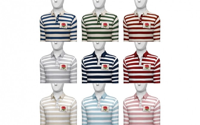 Striped appliqued cotton jersey polo shirt at Rusty Nail image 2482 670x419 Sims 4 Updates
