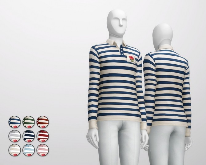 Striped appliqued cotton jersey polo shirt at Rusty Nail image 2492 670x536 Sims 4 Updates