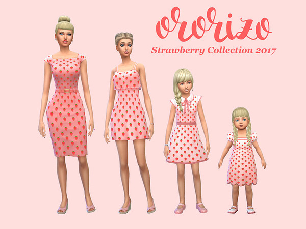 Sims 4 Strawberry Dress Collection 2017 by Ororizo at TSR