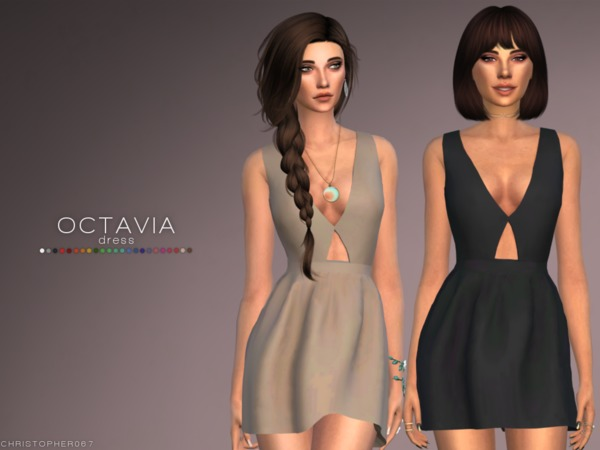 Sims 4 Octavia Dress by Christopher067 at TSR