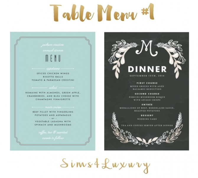 Sims 4 Table Menu #1 at Sims4 Luxury