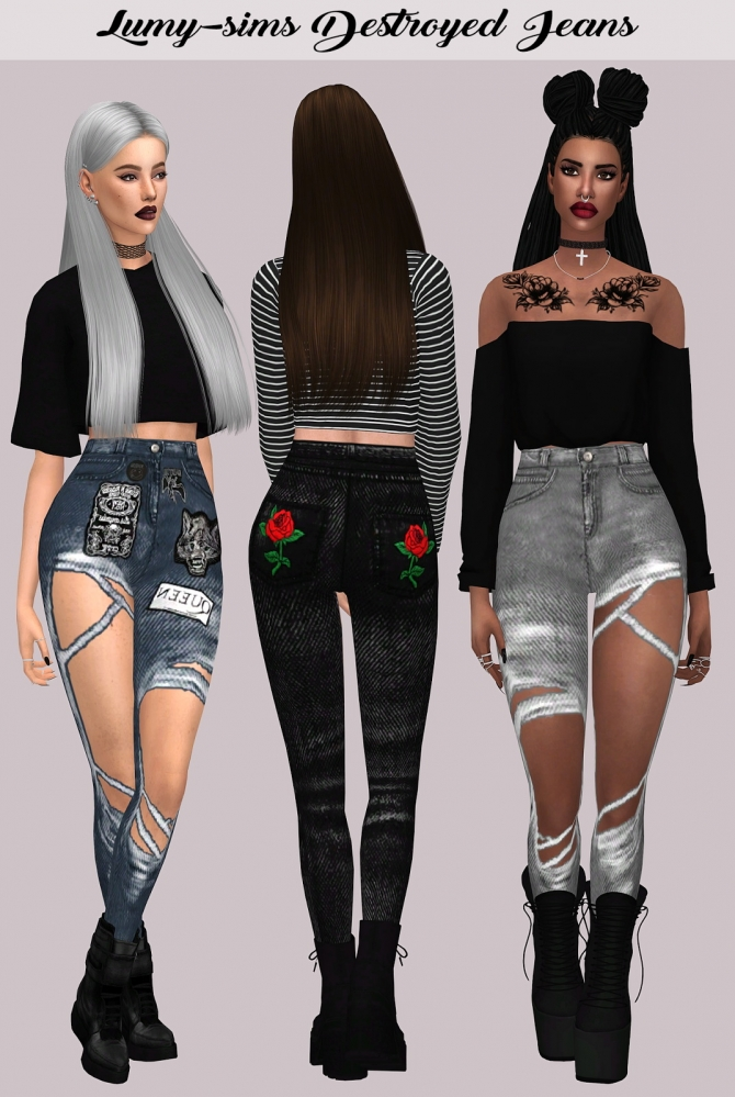Destroyed Jeans At Lumy Sims 187 Sims 4 Updates
