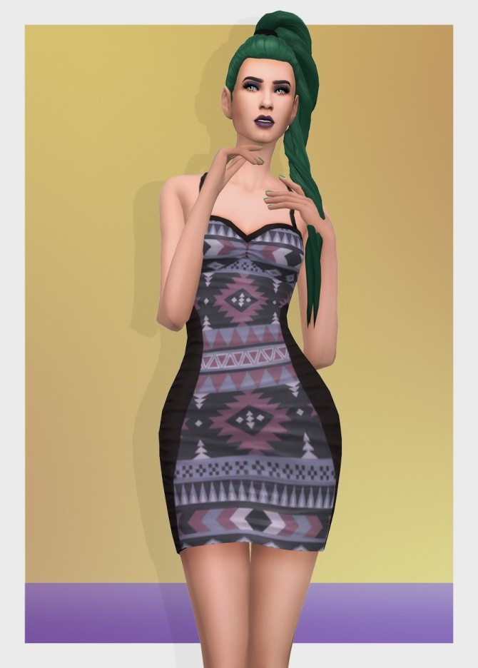 AZTEC DRESS RUCHED at Busted Pixels image 2932 670x936 Sims 4 Updates