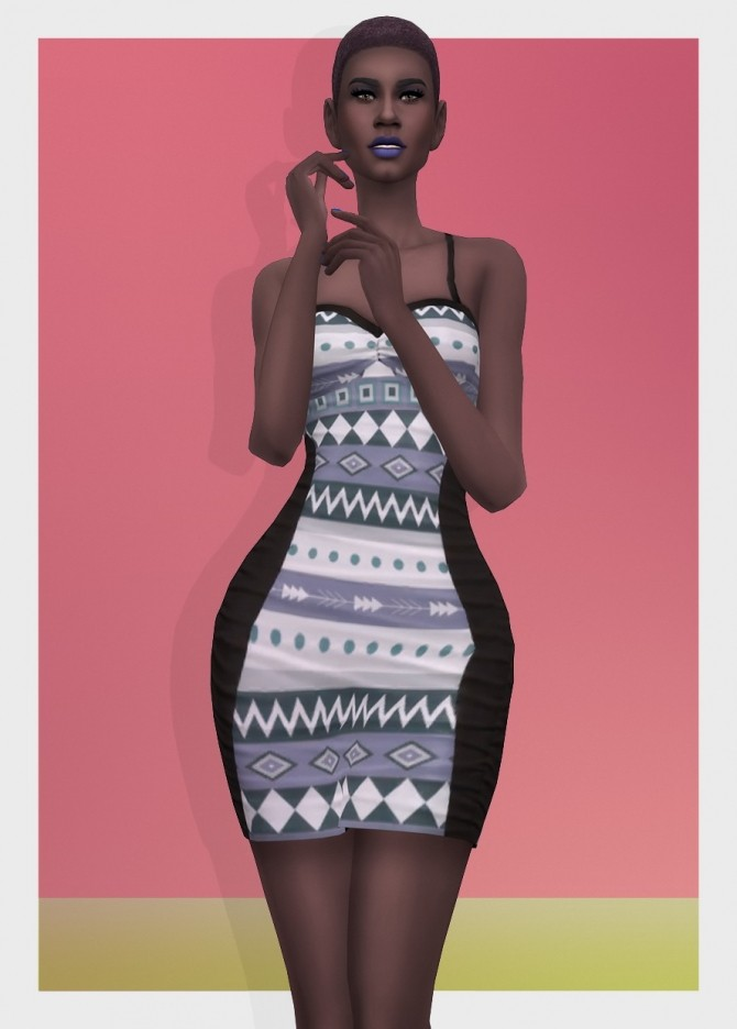 AZTEC DRESS RUCHED at Busted Pixels image 2941 670x936 Sims 4 Updates