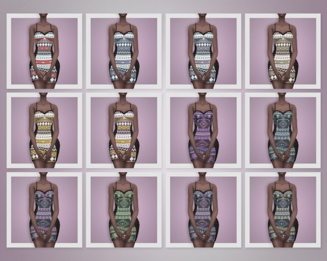 AZTEC DRESS RUCHED at Busted Pixels image 2951 670x535 Sims 4 Updates
