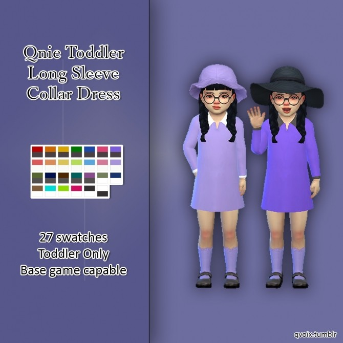Toddler Long Sleeve Collar Dress at qvoix – escaping reality image 3191 670x670 Sims 4 Updates
