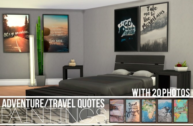 ADVENTURE/TRAVEL QUOTES PAINTINGS at Candy Sims 4 image 3244 670x439 Sims 4 Updates