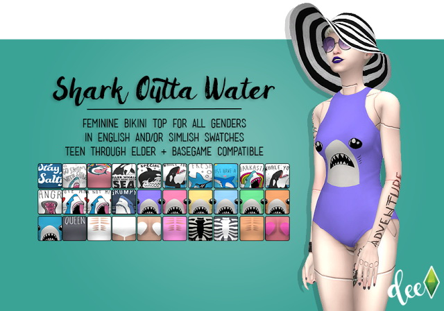 Sims 4 Shark Outta Water Bodysuit as Top at Deetron Sims