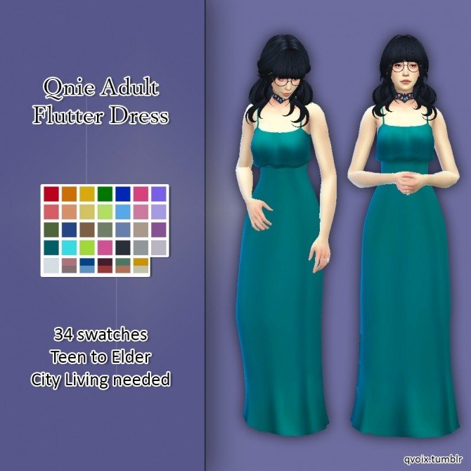 Flutter Dress at qvoix – escaping reality image 3301 670x670 Sims 4 Updates