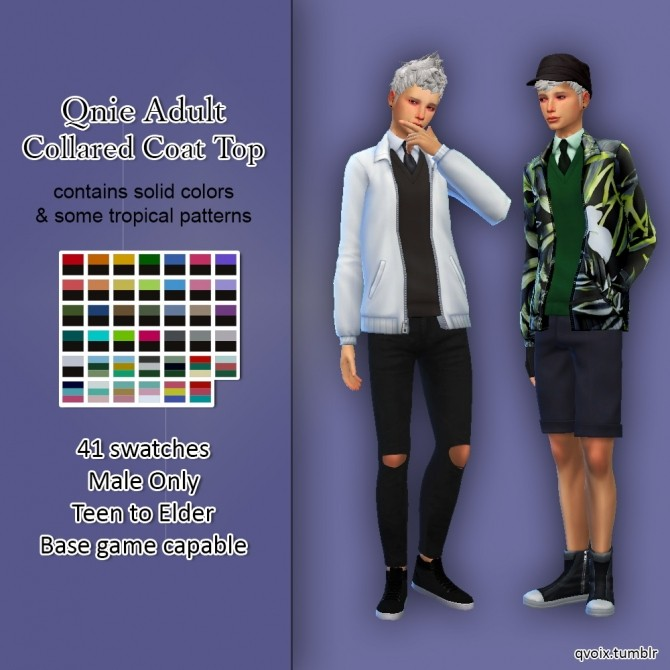 Collared Coat Top at qvoix – escaping reality image 3315 670x670 Sims 4 Updates