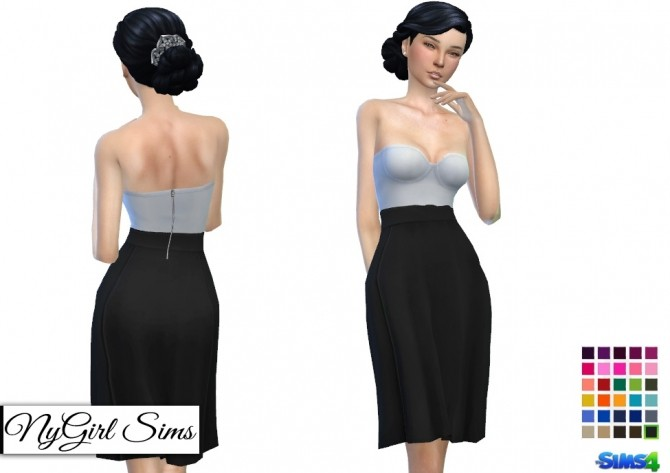 Strapless White Midi Dress with Colored Skirt at NyGirl Sims image 348 670x473 Sims 4 Updates