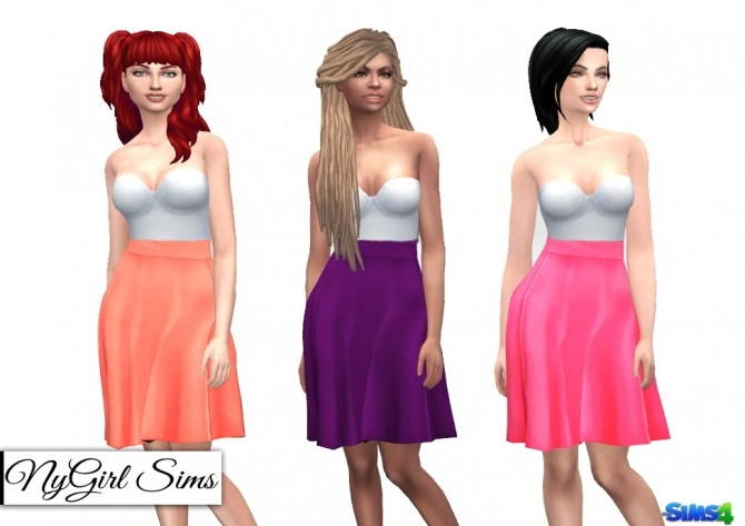 Strapless White Midi Dress with Colored Skirt at NyGirl Sims image 349 670x473 Sims 4 Updates