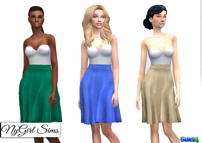 Strapless White Midi Dress with Colored Skirt at NyGirl Sims image 350 670x473 Sims 4 Updates