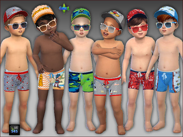 6 Swimtrunks Caps And Sunglasses For Toddlers Boys At