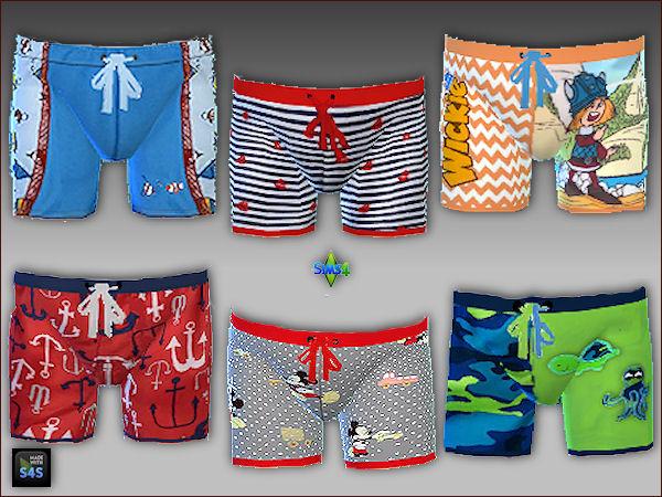 6 swimtrunks, caps and sunglasses for toddlers (boys) at Arte Della Vita image 3622 Sims 4 Updates