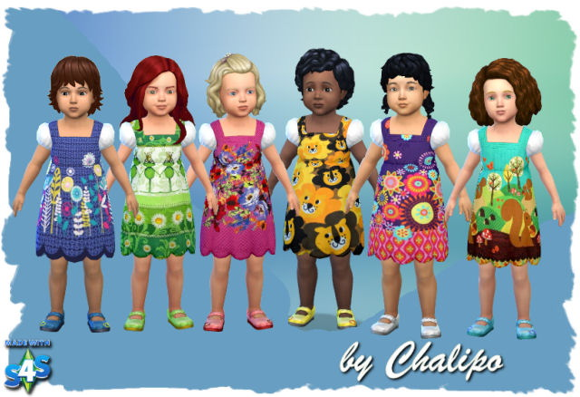 Sims 4 Toddler Dress Spring by Chalipo at All 4 Sims